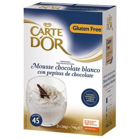 Mousse Chocolate Blanco con Pepitas Carte d'Or 45 raciones Sin Gluten -