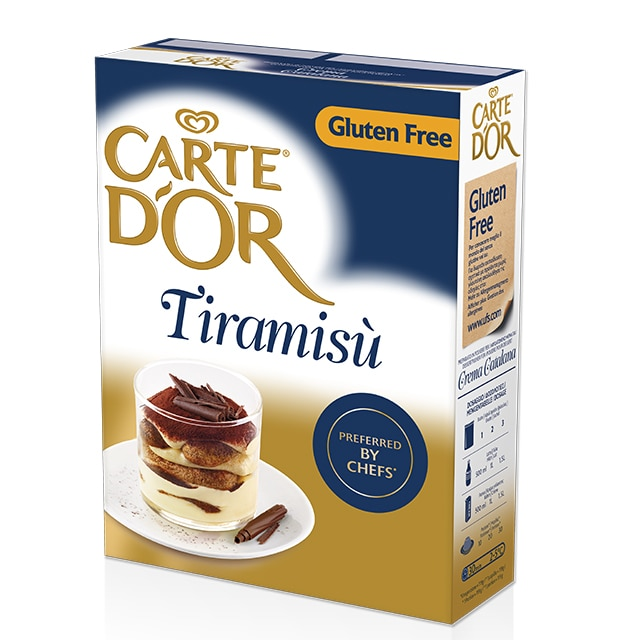 Tiramisú Carte d'Or Sin Gluten 48 raciones - Tiramisú Carte d'Or preferido por Chefs en Italia te permite ofrecer un postre tradicional, a tu manera y en pocos minutos