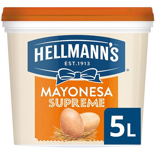 Hellmann's Gran Consistencia mayonesa cubo 5L - Hellmann's Supreme, con un 77% de aceite, aporta volumen y gran consistencia a tus platos
