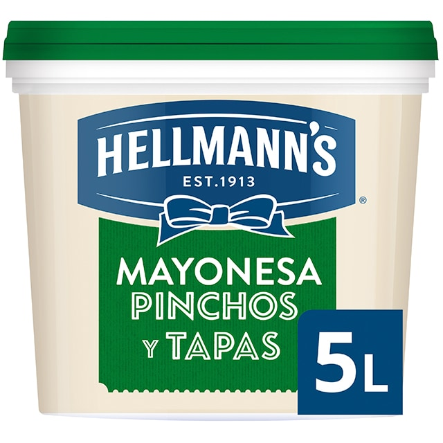 Hellmann's Pinchos y Tapas mayonesa cubo 5L - Hellmann's Pinchos y Tapas: mantiene tus platos atractivos más tiempo sin que amarilleen