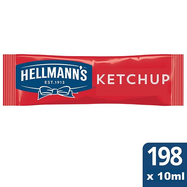 Ketchup Hellmann's monodosis 10ml. Caja de 198 uds. Sin Gluten - Ofréceles toda la calidad de Hellmann's en un práctico formato monoporción