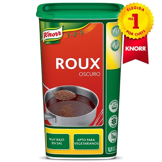 Knorr Roux Espesante Oscuro bote 1kg - Roux Oscuro Knorr, la marca elegida Nº1 por chefs*, para espesar y redondear tus salsas y guisos oscuros