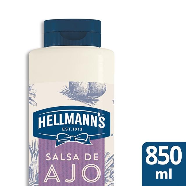 Salsa al toque de Ajo Hellmann's botella 850ML Sin Gluten - Salsas Especiales Hellmann's. Nuevos sabores en un práctico envase