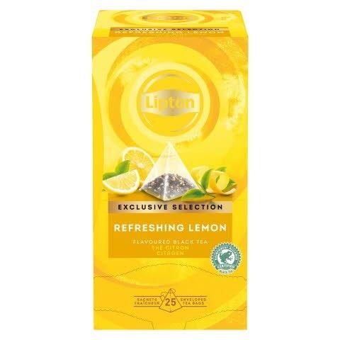 Té Negro Lipton Limón Refrescante, Caja con 25 sobres -