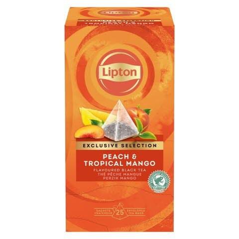 Té Negro Lipton Melocotón y Tropical Mango, Caja con 25 sobres -