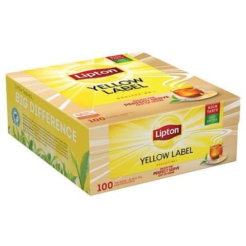 Té Negro Lipton Yellow Label, 100 bolsitas con sobres -