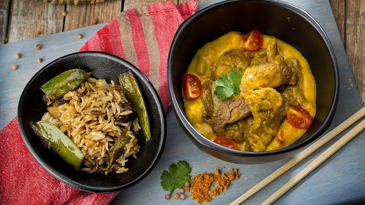 Curry de ternera con arroz de verduras sin gluten