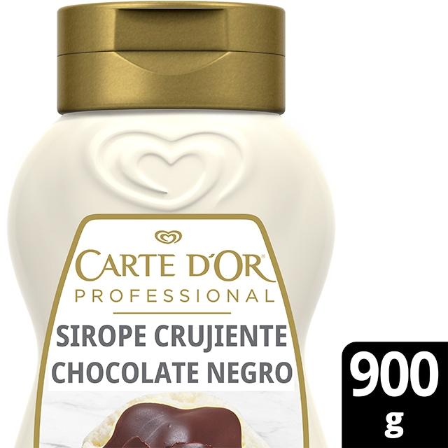 Sirope Crujiente Chocolate Negro Carte d'Or botella 900g - La gama de Siropes Carte d'Or Profesional es la preferida por los chefs, debido a que está diseñada con colores y sabores para seducir con tus postres