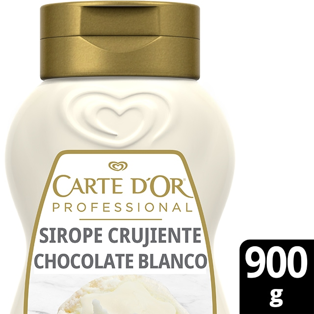 Sirope Crujiente Chocolate Blanco Carte d'Or botella 900g - Cocina con el Sirope Crujiente de Chocolate Blanco, de la gama de Siropes Carte d'Or Profesional, la preferida por los chefs, debido a que está diseñada con colores y sabores para seducir con tus postres
